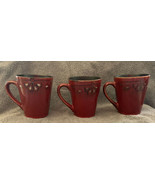 American Atelier at Home marquee Red Mugs Cups Stoneware Set of 3 - $21.99