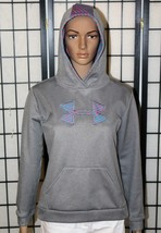 Girls UNDER ARMOUR STORM Hoodie Youth YXL Gray & Pink Loose Fit Pullover... - $29.02