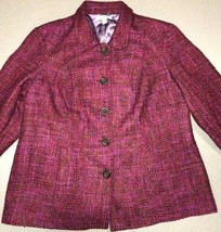Coldwater Creek Fine Touch Boucle Jacket Womens Mulberry Purple Tweed Si... - $59.40