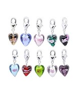 HooAMI 20pcs Glass Heart Clip On Charm Fit Link Bracelet - $9.50