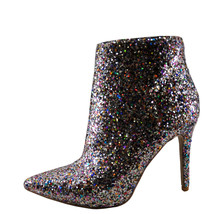 Qupid Milia 109 Silver Women's Sequenced Pointed Toe Bootie - $38.99