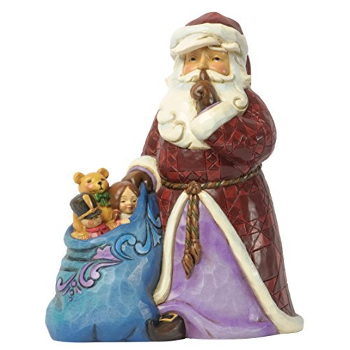 Jim Shore for Enesco Heartwood Creek Silent Santa with Toy Figurine, 6.75-Inch