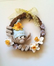 Easter Wreath Garden Gnome Flowers gnome Easter decorations - $25.77
