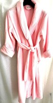 Charter Club Intimates Women's Small Robe Pink Pockets Ruched Lapel Fuzzy - $34.97