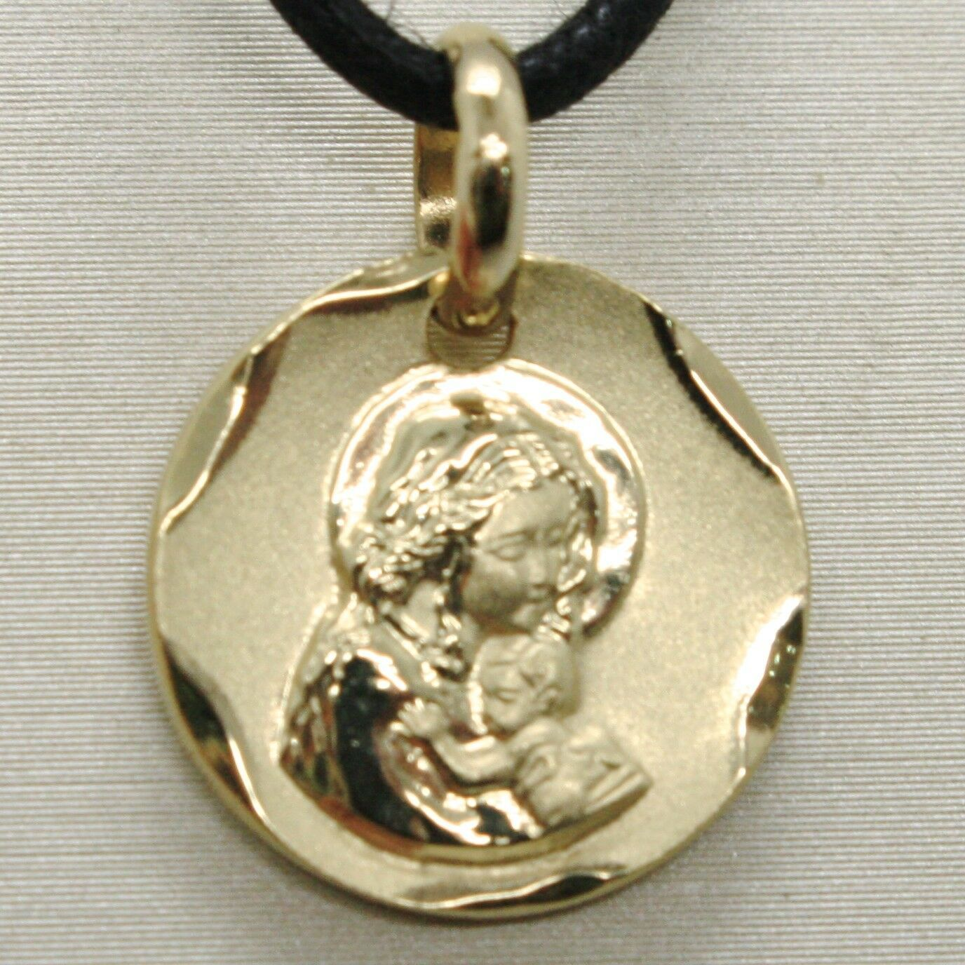 SOLID 18K YELLOW GOLD VIRGIN MARY AND JESUS 14 MM MEDAL, PENDANT, MADE IN ITALY
