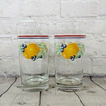 Lot Of 2 Corelle Corning Abundance Pattern Flat Bottom Drinking Glasses 16 Oz - $16.82