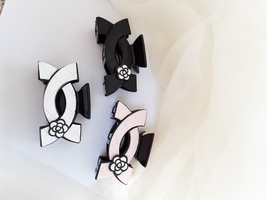 Women Camellia Faux leather Hair Claw Clip Bow - $16.00