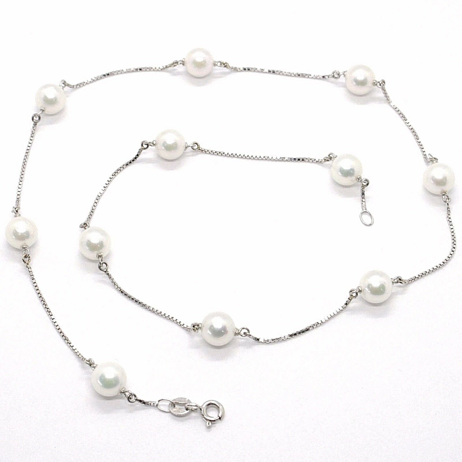 NECKLACE WHITE GOLD 18K, WHITE PEARLS 7.5 MM, AKOYA JAPANESE, CHAIN VENETIAN