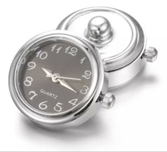 Snap Watch Clock Charm Button - Firs Magnolia, Ginger, Ect. - Silver With Black - $8.86