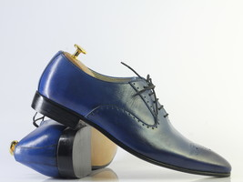 Handmade Men's Blue Leather Heart Medallion Lace Up Dress/Formal Oxford Shoes image 1