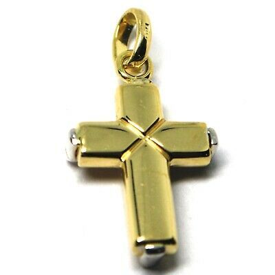 Pendentif Croix en or Blanc et Blanc 18K 750 Stylisé Fabriqué en Italie Bijou image 7