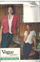 7755 sin Cortar Vogue Patrón de Costura Misses Suelto Ajuste Chaqueta Falda - $5.59