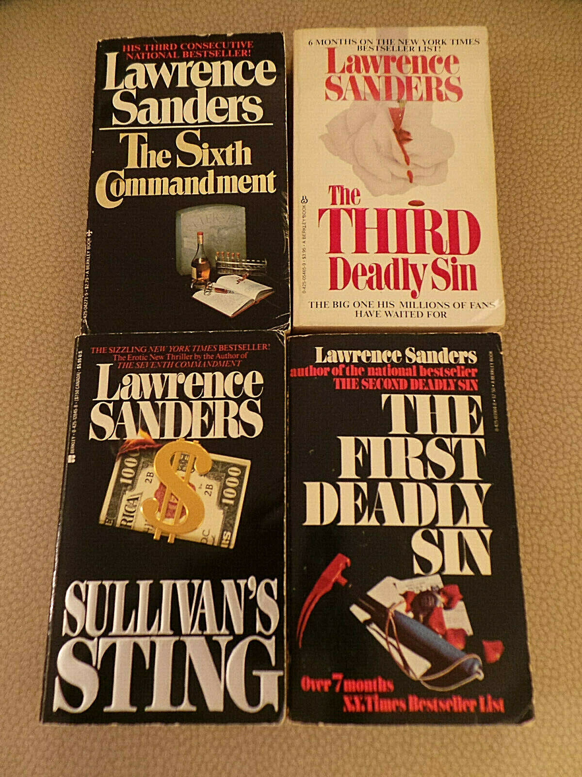 Primary image for Lot of 5 Lawrence Sanders PB 1st & 3rd Deadly Sin; Sullivan's; 6th Comm; Lucy