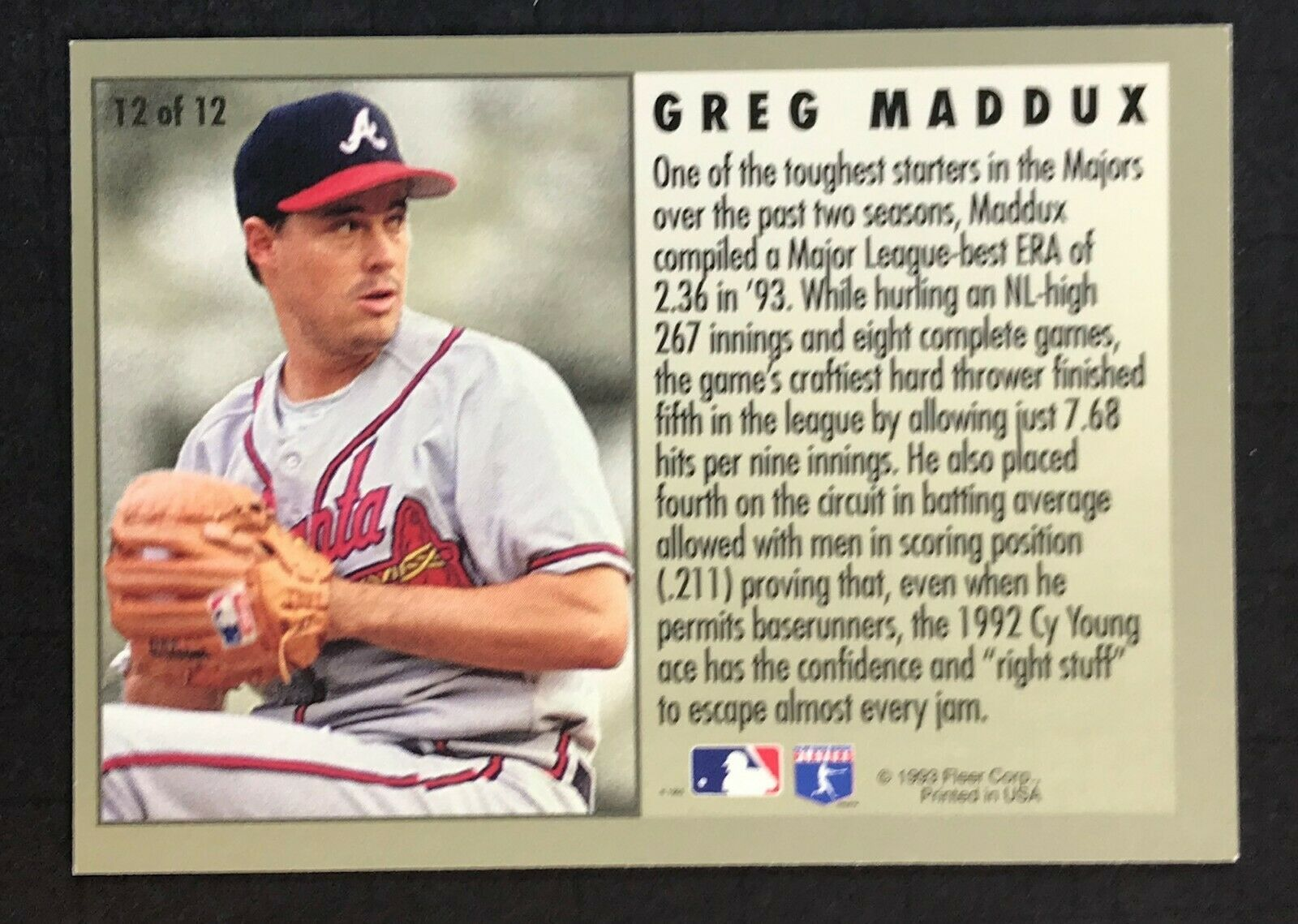 1994 Fleer League Leader Greg Maddux Card #12 of 12