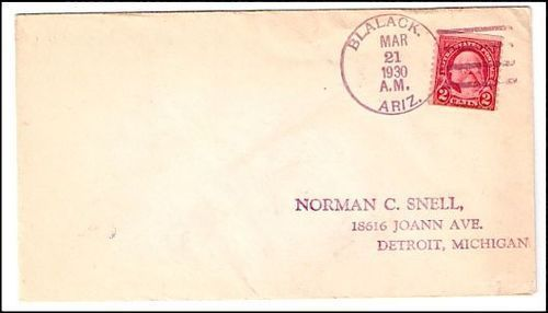 1930 Blalack AZ Discontinued/Defunct (DPO) Post Office Postal Cover