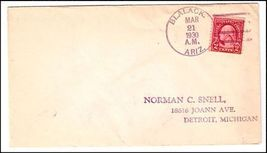 1930 Blalack AZ Discontinued/Defunct (DPO) Post Office Postal Cover - $9.95