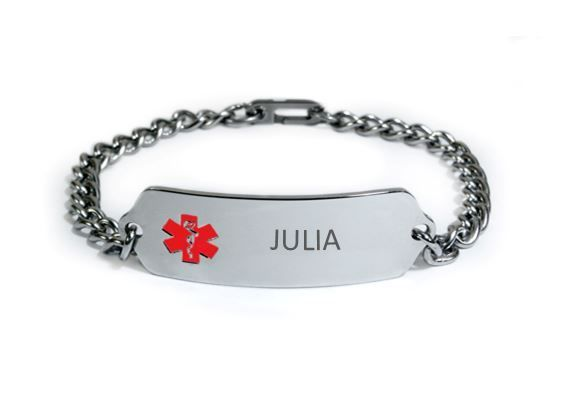 JULIA, EPILEPSY SEVERE ALLERGY TREE NUTS Medical ID Bracelet. Free Engraving
