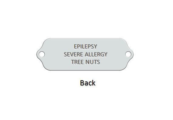 JULIA, EPILEPSY SEVERE ALLERGY TREE NUTS Medical ID Bracelet. Free Engraving image 2