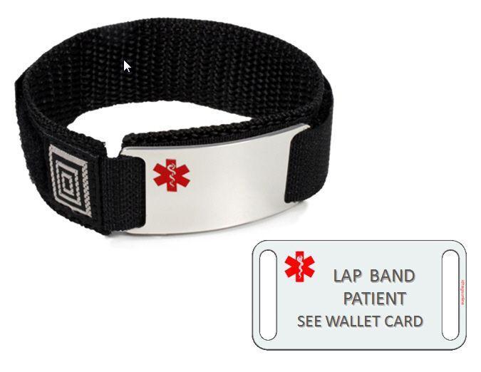 LAP BAND PATIENT Sport Medical Alert ID Bracelet. Free medical Emergency Card!