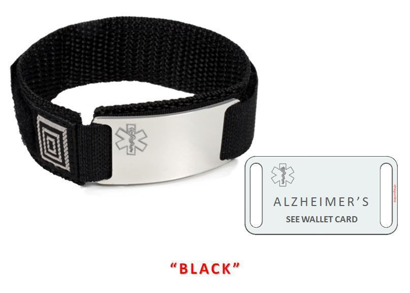 ALZHEIMERS Sport Medical Alert ID Bracelet. Free medical Emergency Card! TKID68