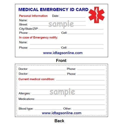 Medical Mini ID Dog Tag with Blue emblem. Free Wallet Card and engraving. IDNS29 image 3
