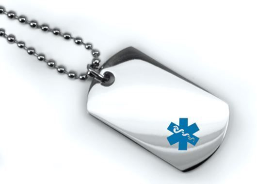 Medical Mini ID Dog Tag with Blue emblem. Free Wallet Card and engraving. IDNS29