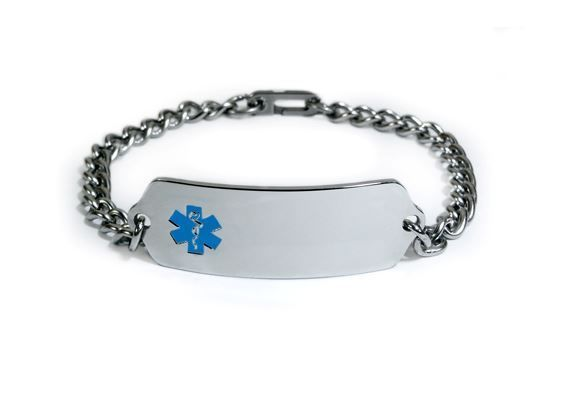 Medical Alert ID Bracelet with Blue enamel emblem. Free medical Card! MID1053