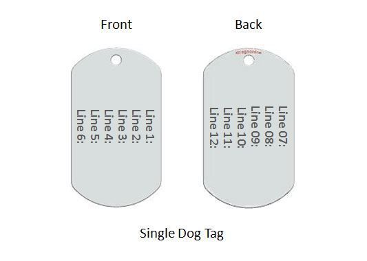 Premium Dog Tag. Free 12 lines engraved. Free Wallet Card! Model IDNS15 image 2