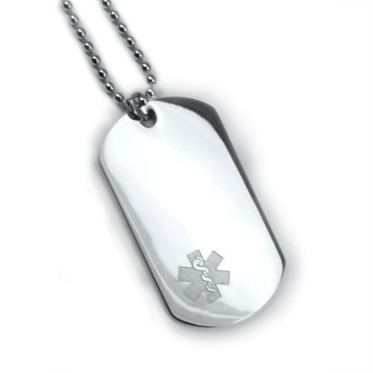 Medical Alert ID Dog Tag Clear emblem. Free 6 lines engraved, Free Wallet Card.