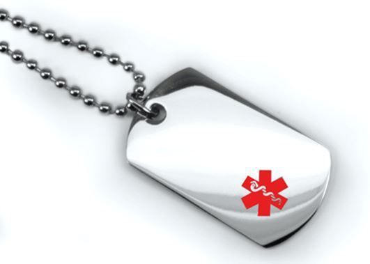 Medical Mini ID Dog Tag with Red emblem. Free Wallet Card Free engraving IDNS28