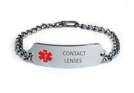 Contact Lenses Medical Alert ID Bracelet. Free medical Emergency Card! TKID53 image 1