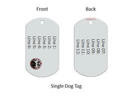 Medical Alert ID Dog Tag with Raised emblem 12 lines engraved. Free Wallet Card! image 2
