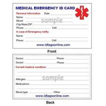 Medical Alert ID Dog Tag Blue emblem. Free 12 lines engraved, Wallet Card IDNS06 image 2