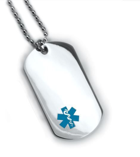 Medical Alert ID Dog Tag Blue emblem. Free 12 lines engraved, Wallet Card IDNS06