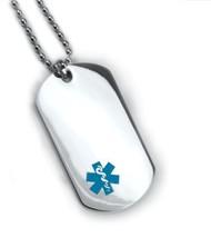 Medical Alert ID Dog Tag Blue emblem. Free 12 lines engraved, Wallet Card IDNS06 image 1