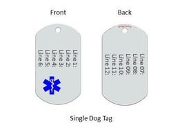 Medical Alert ID Dog Tag Blue emblem. Free 12 lines engraved, Wallet Card IDNS06 image 3