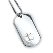 Medical Alert ID Dog Tag Engraved emblem. Free 6 lines engraved Free Wallet Card image 1