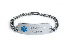 PEANUT NUT ALLERGY Medical Alert ID Bracelet. Free medical Emergency Card! image 4