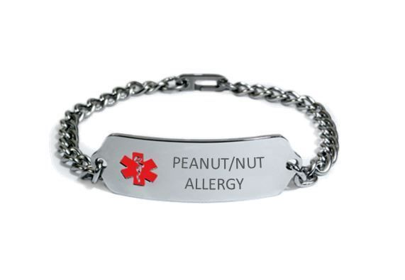 PEANUT NUT ALLERGY Medical Alert ID Bracelet. Free medical Emergency Card!