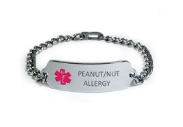 PEANUT NUT ALLERGY Medical Alert ID Bracelet. Free medical Emergency Card! image 5