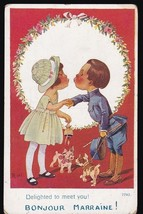Delighted To Meet You! Vintage Artists Signed Postcard Right - $4.12