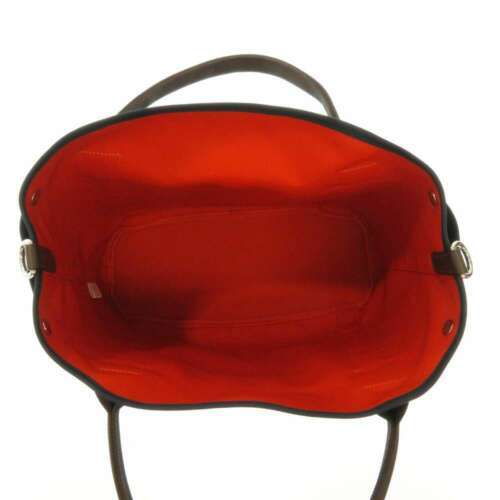HERMES Sac de Pansage Groom Cotton Canvas Navy Brown Feu Tote Bag #D Authentic image 5