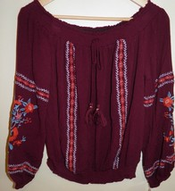 Women's (Juniors') Xhilaration Off the Shoulder Gypsy Blouse Top Maroon ... - $6.92