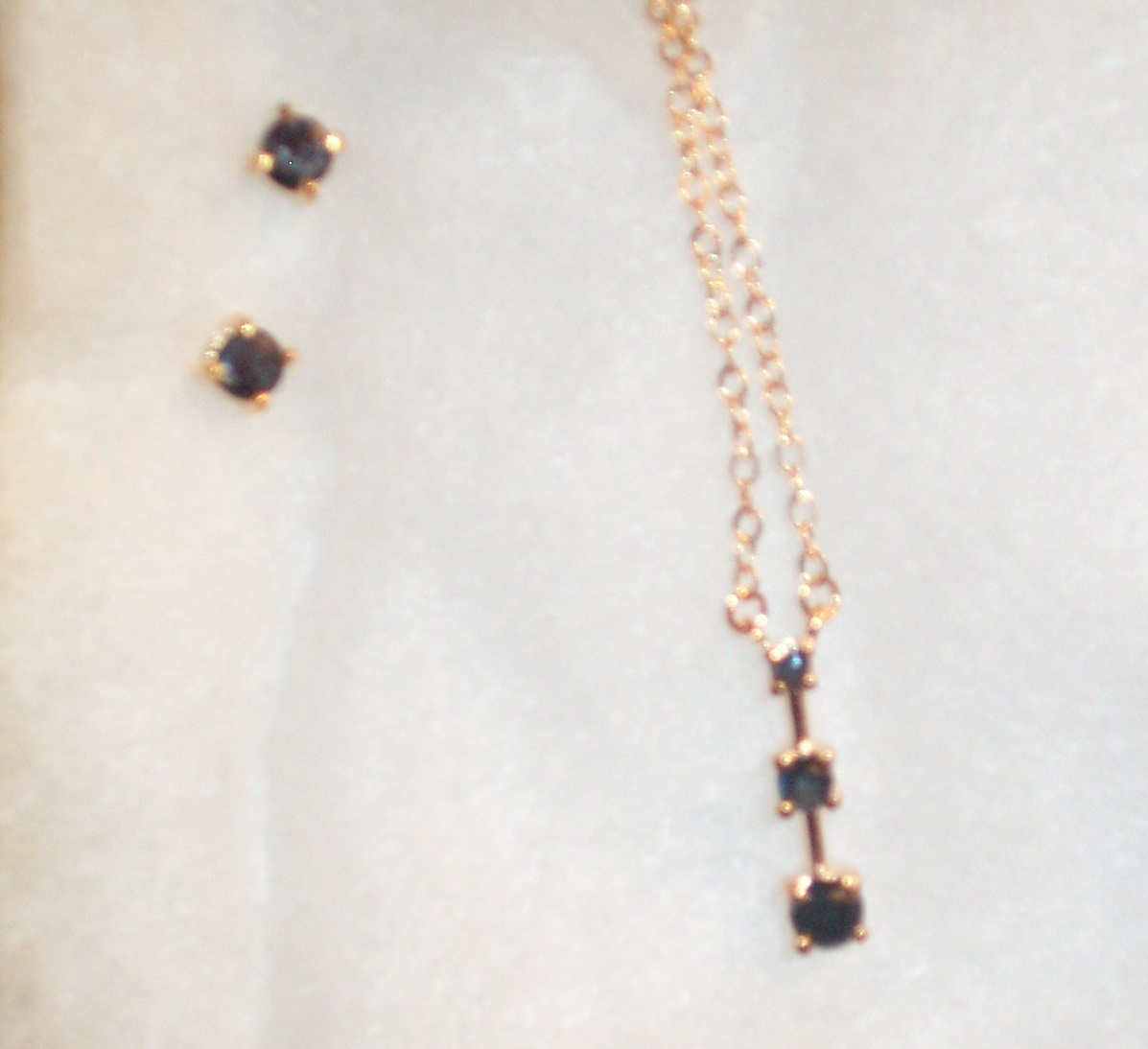 "Blue Sapphire ""Past Present Future"" Necklace and Earring Set"