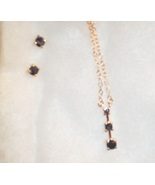 """Blue Sapphire """"Past Present Future"""" Necklace and Earring Set - $55.00"""