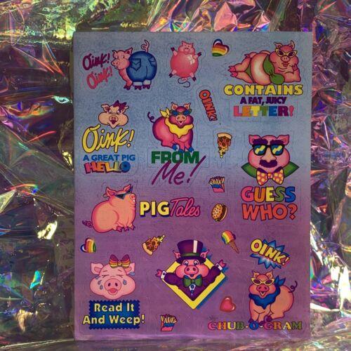 S405 MINT Lisa Frank Sassy Pigs Silly Sender Stickers Fulll Sheets Rare HTF 80s