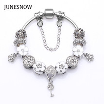 New Design White Flower Beads fit Charm Brand Bracelet With Crystal Wom... - $14.41