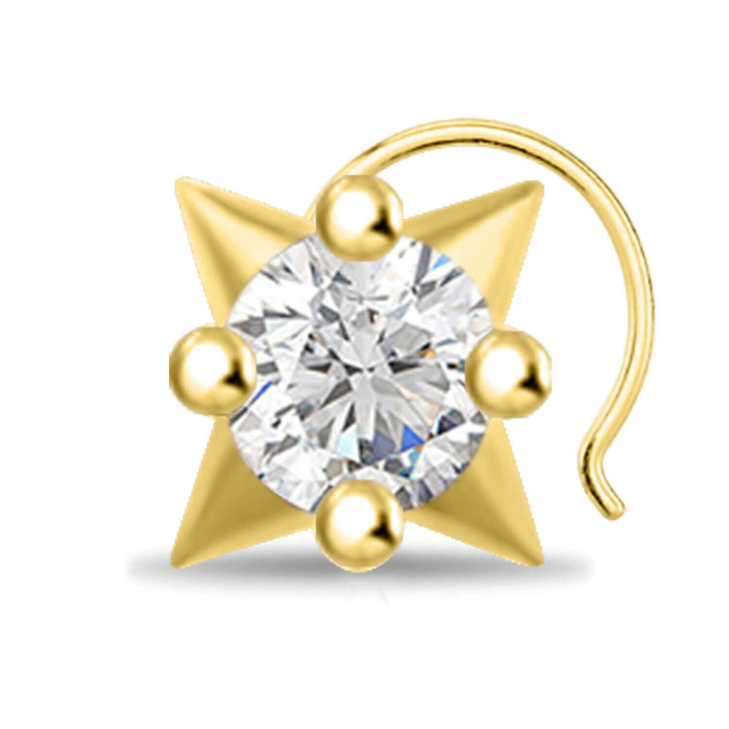 Primary image for 14k Yellow Gold Finish Round Cut Diamond Star Shape Solitaire Nose Pin 0.74Carat