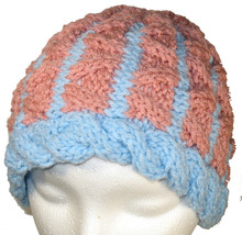 Pink and Blue hand knit hat - $24.00