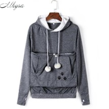Mhysa Cat Lovers Hoodies With Cuddle Pouch Dog Pet Hoodies For Casual Ka... - $31.14